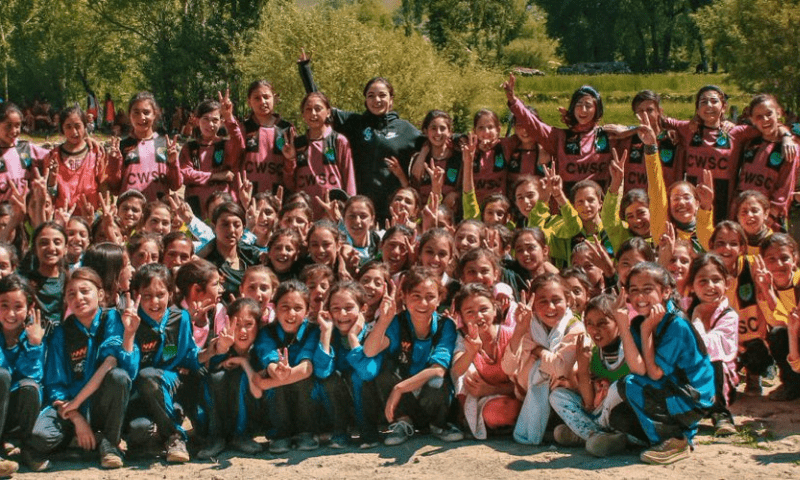 Girls learning tips to play football in Chitral