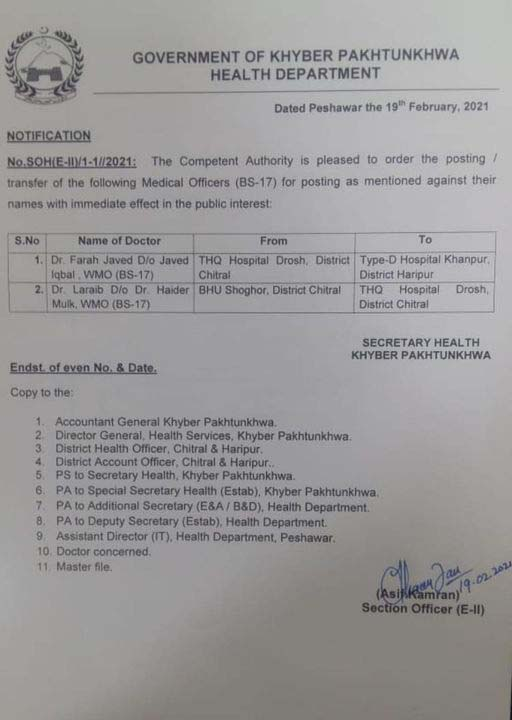 Two lady doctors posted to THQ hospital